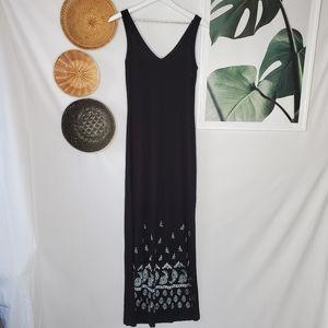 Karen Kane Black Maxi Dress Boho Floral V Neck NEW
